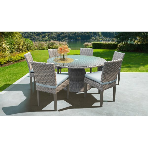 Meeks Outdoor 7 Piece Dining Set with Cushions by Rosecliff Heights