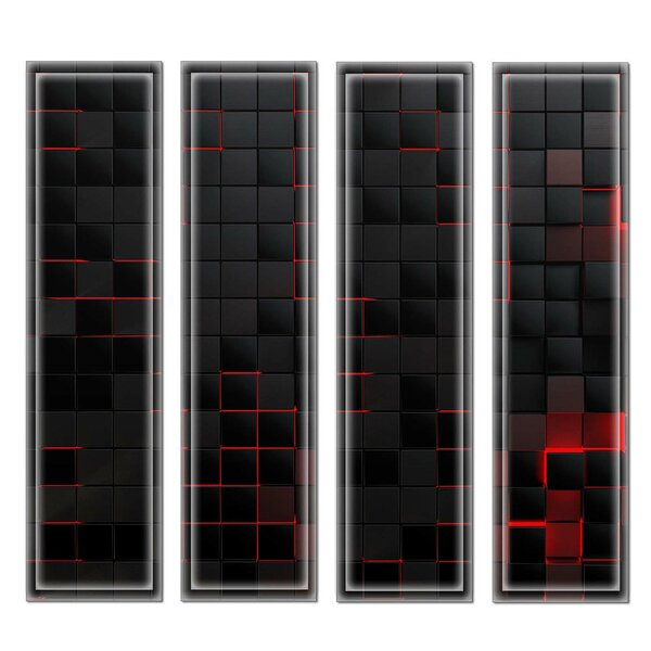 Crystal 3 x 12 Beveled Glass Subway Tile in Black/Red by Upscale Designs by EMA