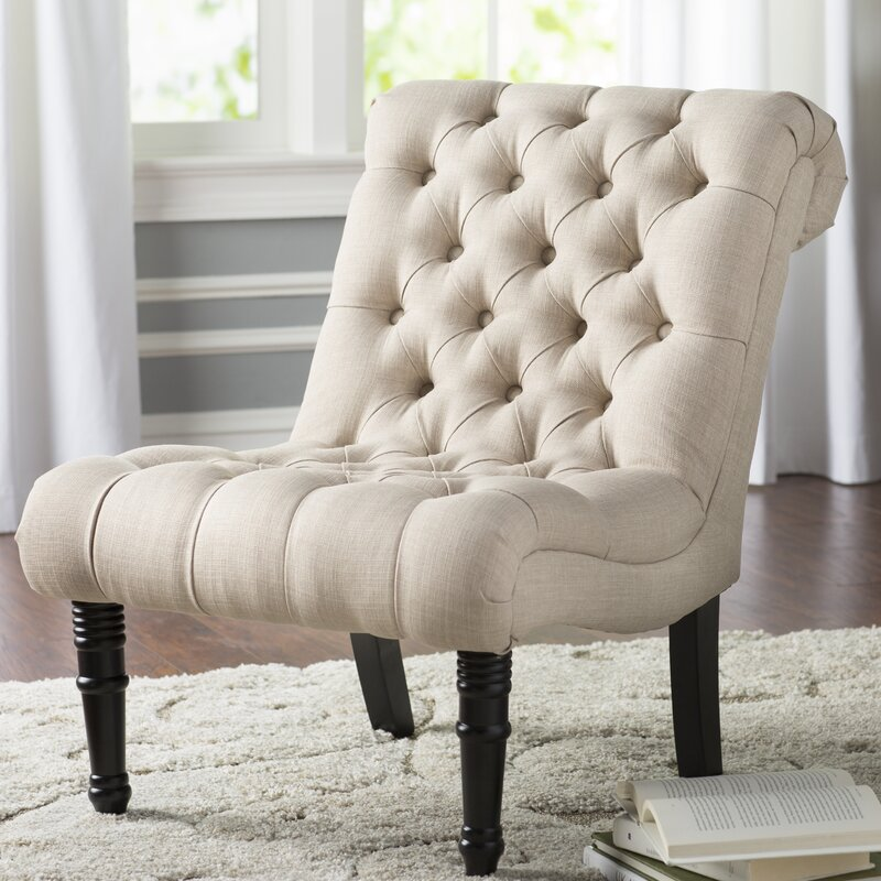 Charming Clarke Scroll Back Tufted Slipper Chair