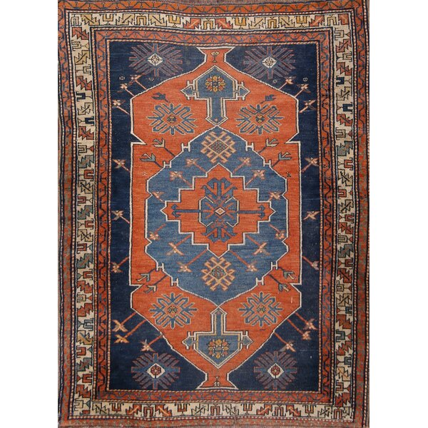 Blomberg Kazak Caucasian Classical Russian Oriental Hand-Knotted Wool Orange/Blue Area Rug by Bloomsbury Market