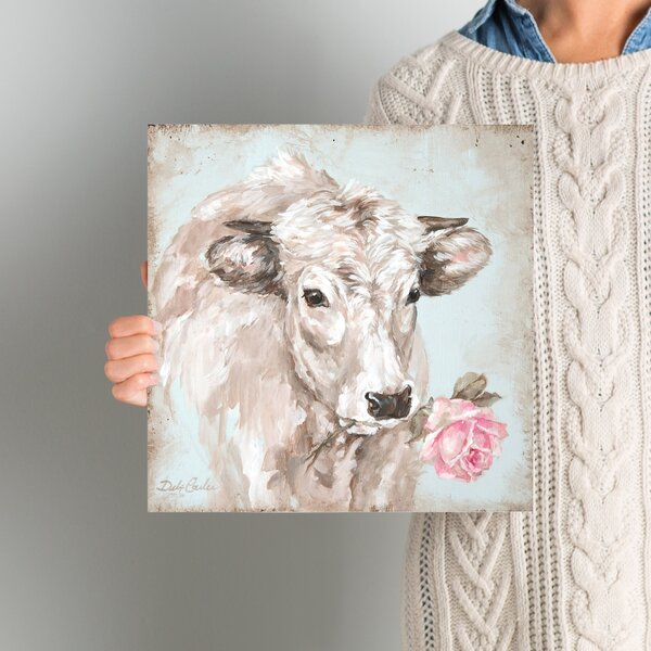 French Farmhouse Series: Cow with Rose II Painting
