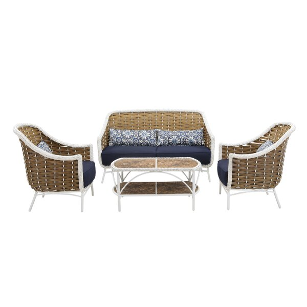 Jauss 4 Piece Rattan Sofa Seating Group with Cushions by Bayou Breeze