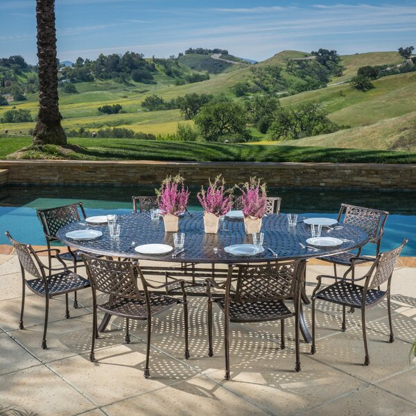 Brain Outdoor Aluminum 9 Piece Dining Set by Fleur De Lis Living