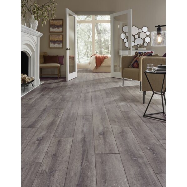 Restoration Wide Plank 8'' x 51'' x 12mm Oak Laminate Flooring in Anvil by Mannington