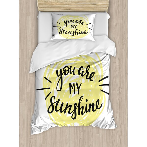 Quotes Modern Love Quote with Hand Drawn Circle Scribbles Love Symbol Print Duvet Set by Ambesonne