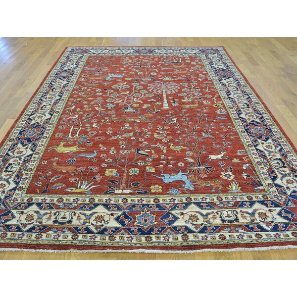 One-of-a-Kind Beaudin Peshawar Tree Of Life Design Hand-Knotted Red Wool Area Rug by Isabelline