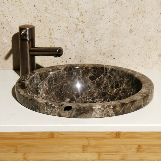 Moonscape Stone Circular Drop-In Bathroom Sink by Allstone Group