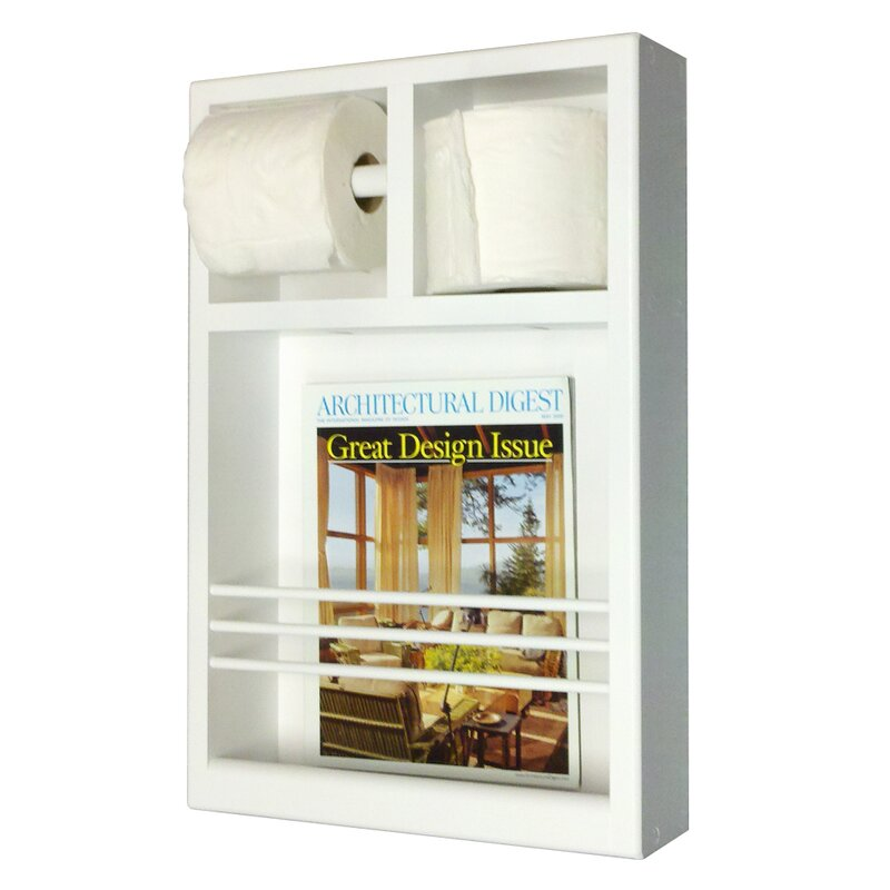 on the wall magazine rack with toilet paper combo - Wall Magazine Rack