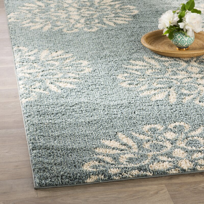 Charlton Home Cowden Exploded Medallions Woven Bay Blue