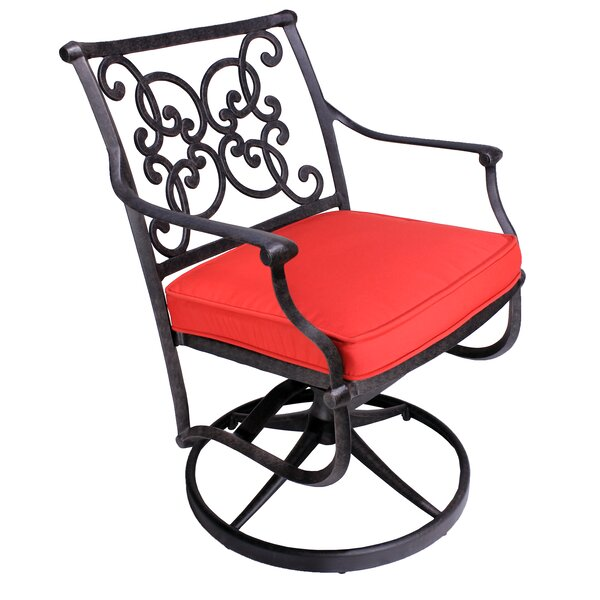 Palmhurst Swivel Patio Dining Chair with Cushion (Set of 2) by Fleur De Lis Living