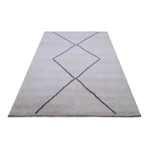 Moroccan Genuine Hand-Knotted Wool Gray/Blue Area Rug by Pasargad NY