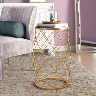 Milburn Convex End Table with Glass Top