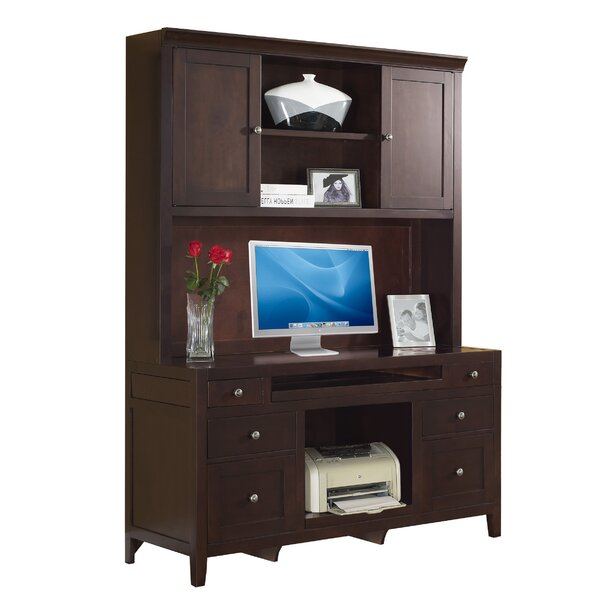 Companion Credenza Desk with Hutch in Cherry by Fairfax Home Collections