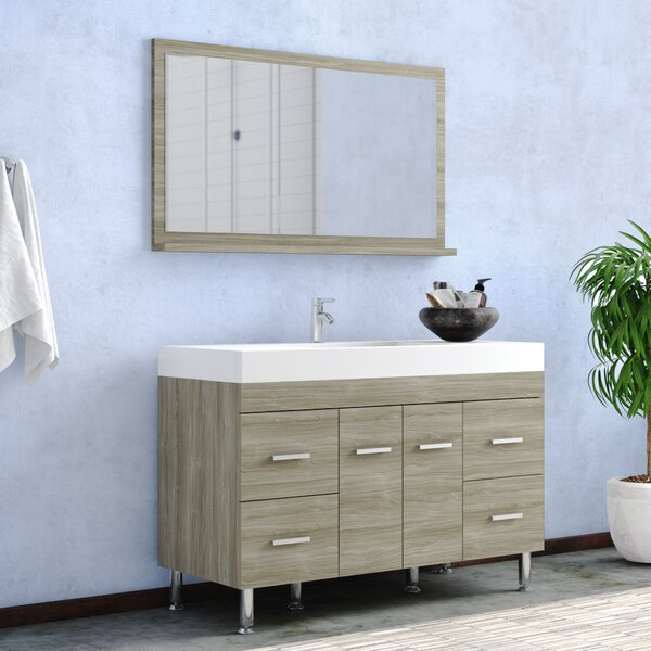 Waldwick 47 Single Modern Bathroom Vanity Set with Mirror by Wade Logan
