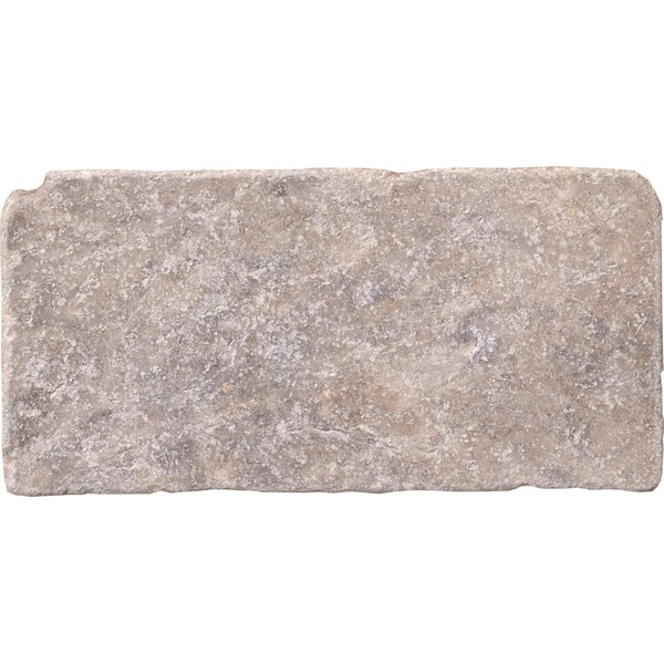 Tumbled 3 x 6 Travertine Subway Tile in Gray by MSI
