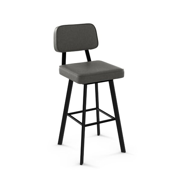 Cloran 30 Swivel Textured Black Bar Stool by 17 Stories