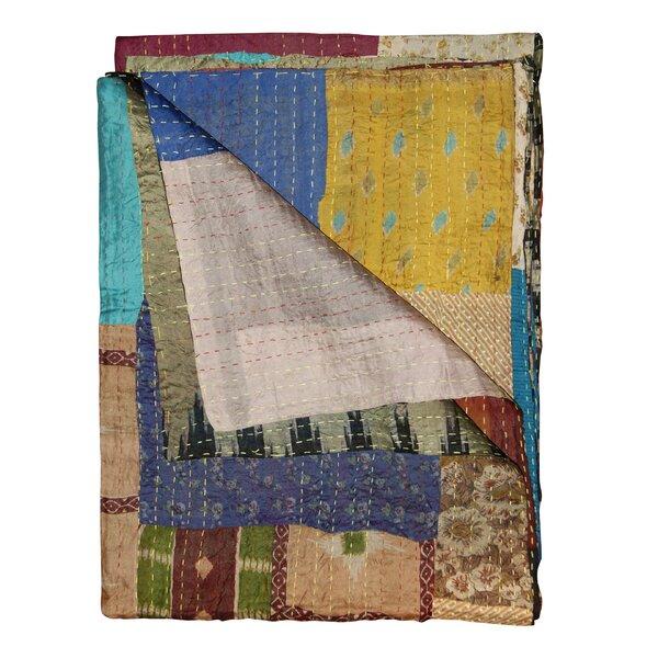 Arguelles Reversible Kantha Silk Throw by Bloomsbury Market
