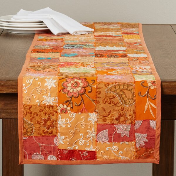 Jatia Hand Crafted Patchwork Cotton and Poly Recyled Sari Table Runner by Bloomsbury Market