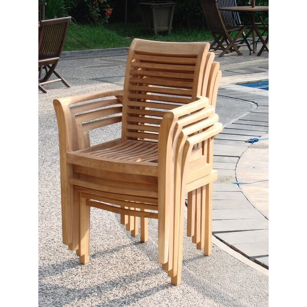 Mas Stacking Teak Patio Dining Chair (Set of 4) by Teak Smith