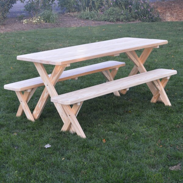 Stockport Pine Cross-leg Picnic Table with 2 Benches by Loon Peak