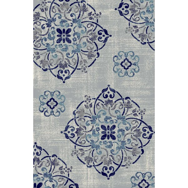 Clarice Medallion Gray/Navy Area Rug by Rosdorf Park
