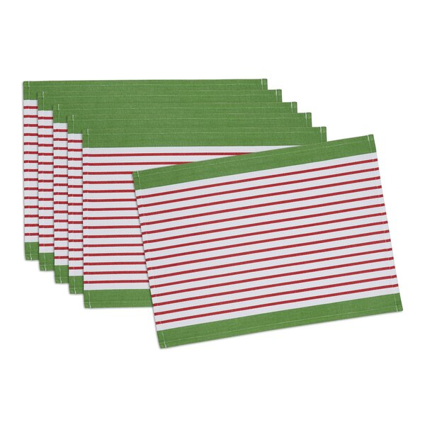 Christmas Candy Apple Stripe Placemat (Set of 6) by The Holiday Aisle