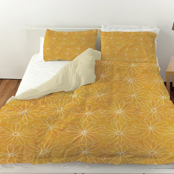 Funky Florals Daisy Sketch Duvet Cover by Manual Woodworkers & Weavers
