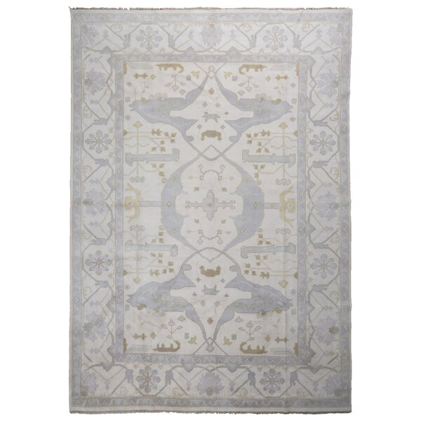 One-of-a-Kind Finadeni Oriental Large Hand-Knotted Wool Beige/Blue Area Rug by Isabelline