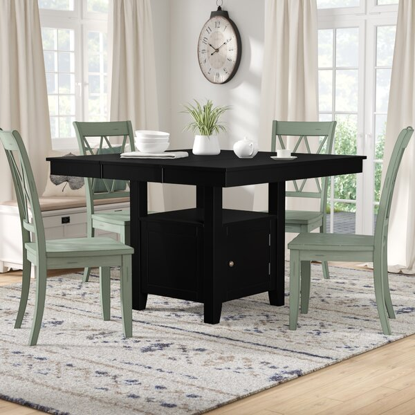 Dabrowski Counter Height Extendable Solid Wood Dining Table by Winston Porter