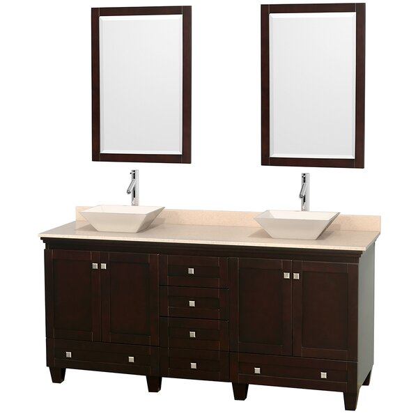 Acclaim 72 Double Espresso Bathroom Vanity Set with Mirror by Wyndham Collection