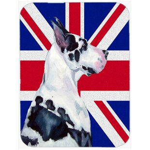 Union Jack Great Dane with English British Flag Glass Cutting Board By Caroline's Treasures