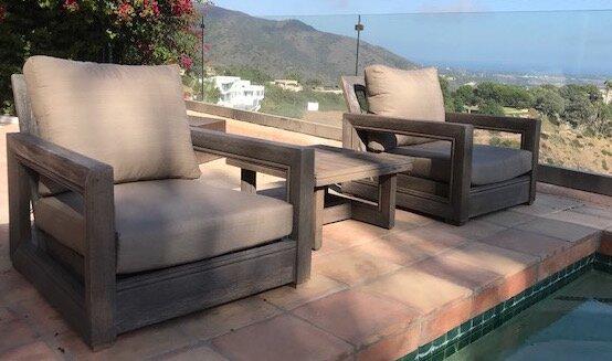 Yandell 3 Piece Teak Conversation Set with Sunbrella Cushions by Brayden Studio