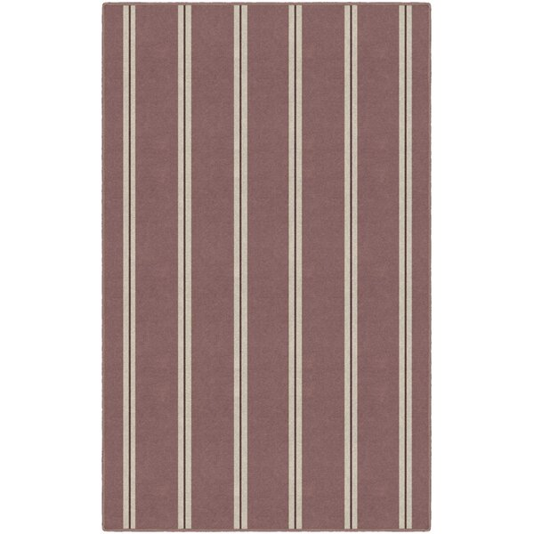 Kacey Traditional Vertical Striped Red Area Rug by Highland Dunes