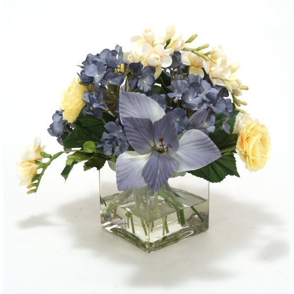 Blue Hydrangea with Freesia and Blue Lily in Glass Vase by Distinctive Designs