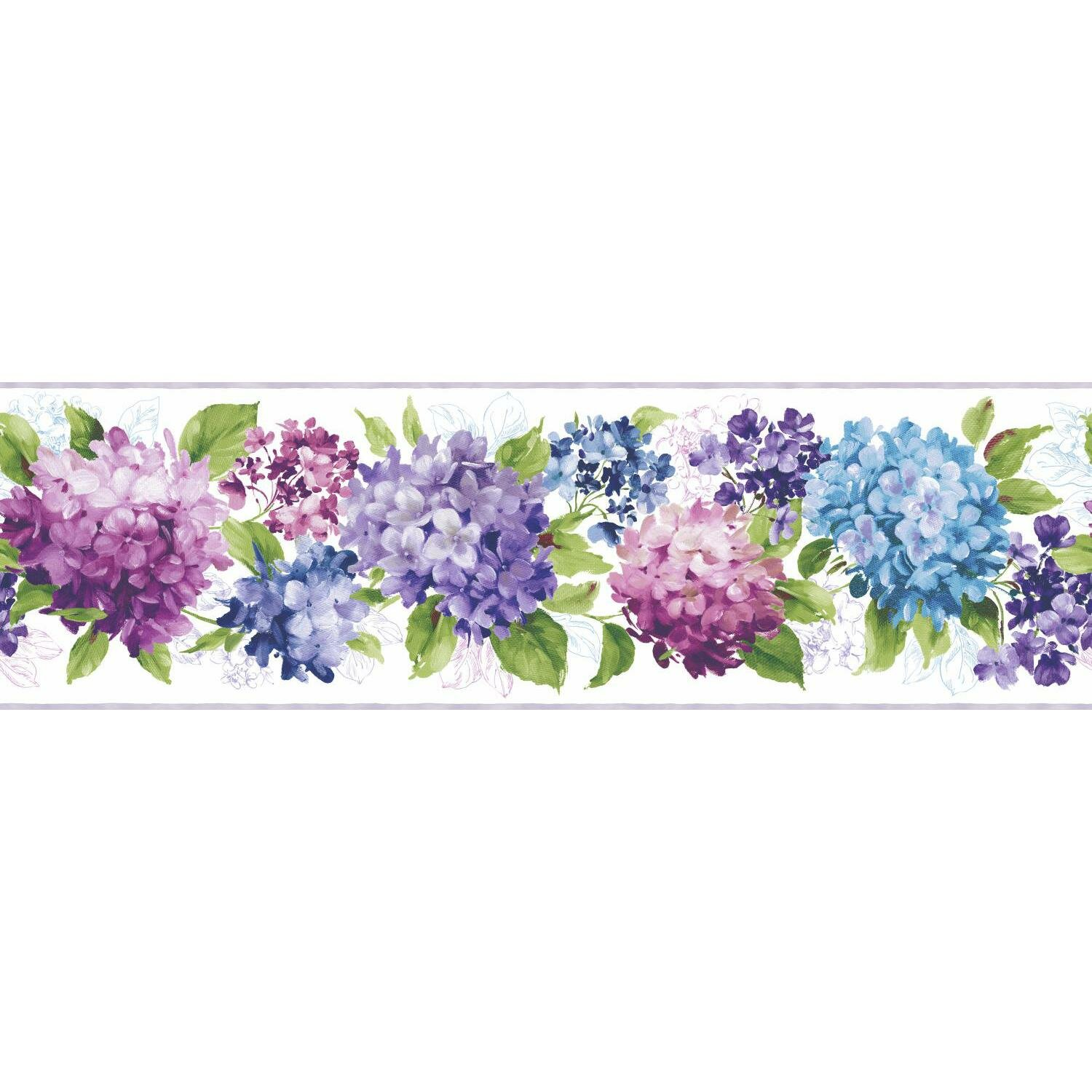 York Wallcoverings Kitchen And Bath Hydrangea 15 X 9 Floral And Botanical Smooth Wallpaper Border Reviews Wayfair