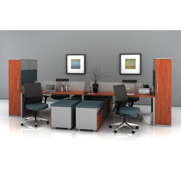 Trig Bench with Storage Towers Desk Office Suite by Trendway