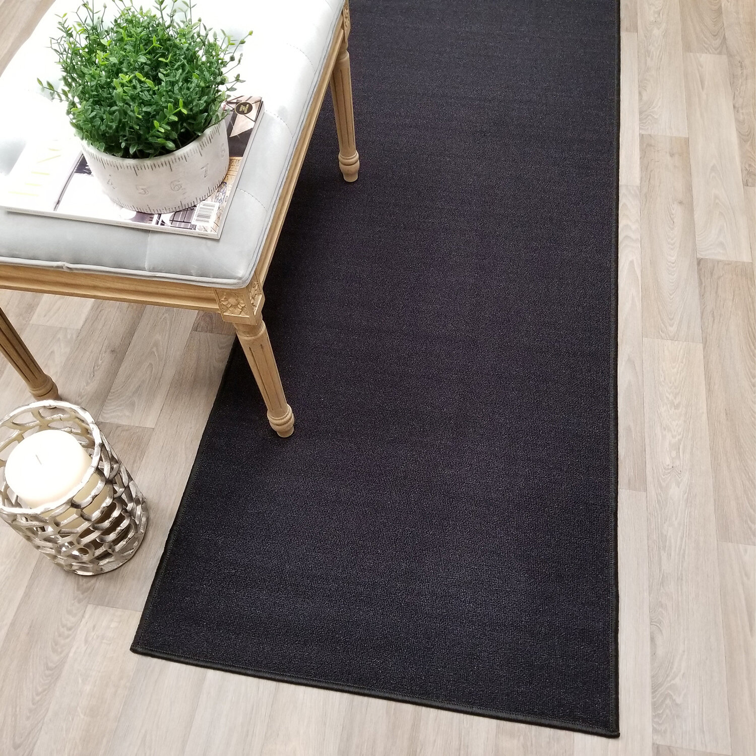 Charlton Home Baron Non Skid Rubber Backed Black Area Rug