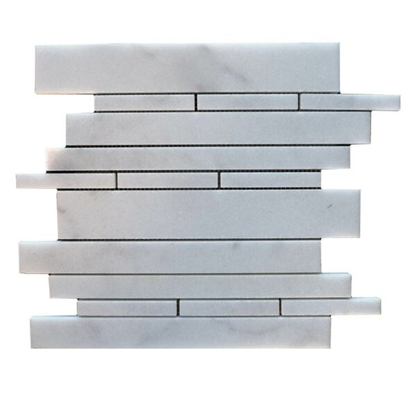 Strips  Natural Stone Mosaic Tile in Lusso Carrara by QDI Surfaces