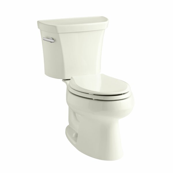 Wellworth Two-Piece Elongated 1.28 GPF Toilet with Class Five Flush Technology, Left-Hand Trip Lever, Insuliner Tank Liner and Tank Cover Locks by Kohler