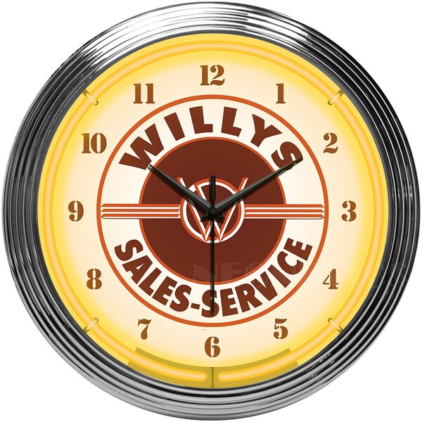 Willys Sales Service Jeep Neon Clock by Neonetics