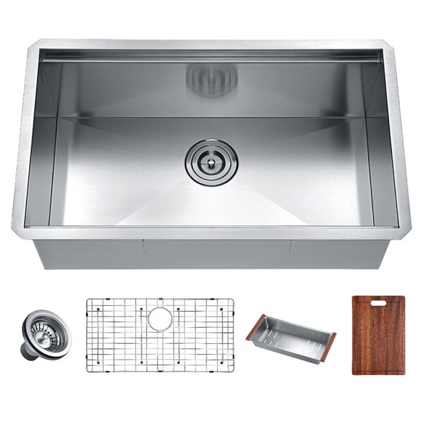 Aegis 33 L x 19 W Undermount Kitchen Sink with Cutting Board and Colander by ANZZI