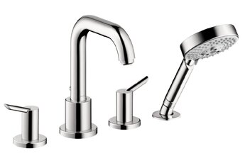 Focus S Two Handle Deck Mounted Roman Tub Faucet with Hand Shower by Hansgrohe