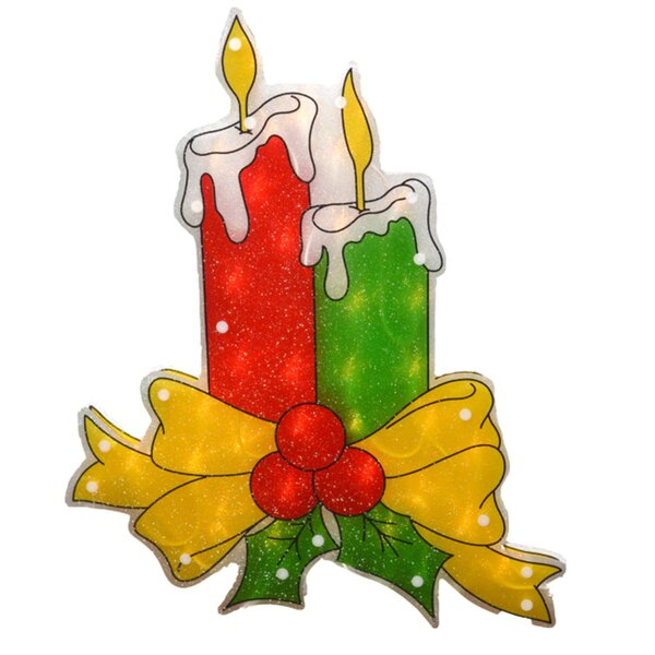 Double-Sided Shimmering Candle Christmas Window Lighting Display by The Holiday Aisle