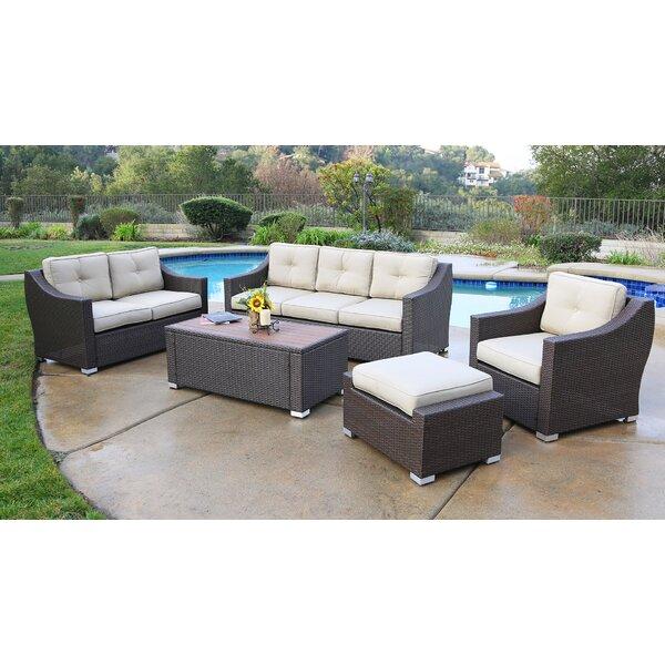 Suai 5 Piece Rattan Sectional Seating Group with Cushions Brayden Studio BSTU7610