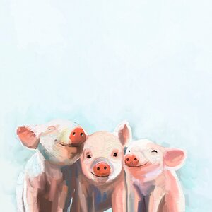 'Three Little Piggies' by Cathy Walters Painting Print on Canvas by GreenBox Art