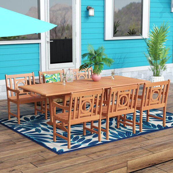 Amabel Extendable 7 Piece Eucalyptus Wood Dining Set by Beachcrest Home Beachcrest Home