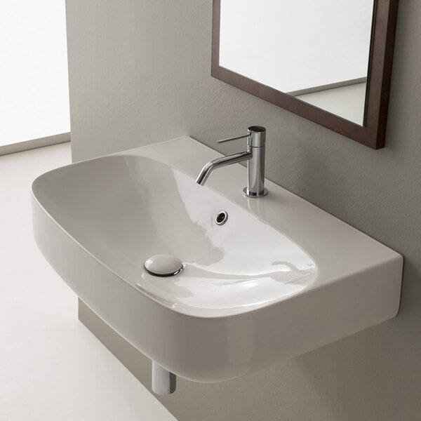 Moon Ceramic 28 Wall Mount Bathroom Sink with Overflow by Scarabeo by Nameeks