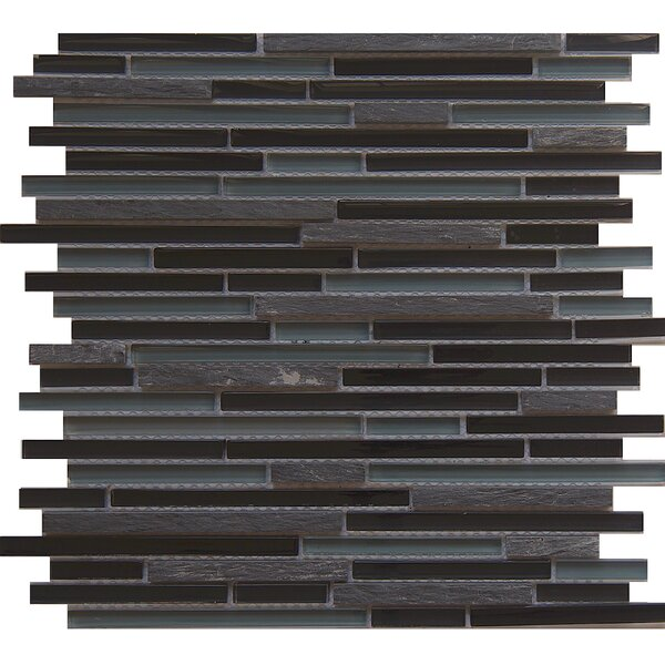 Horizon Midnight Random Sized Glass/Stone/Metal Mosaic Tile in Gray/Brown by Matrix Stone USA