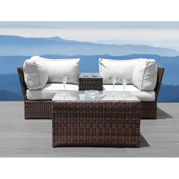 Winsford 4 Piece Sectional Seating Group with Cushions by Rosecliff Heights