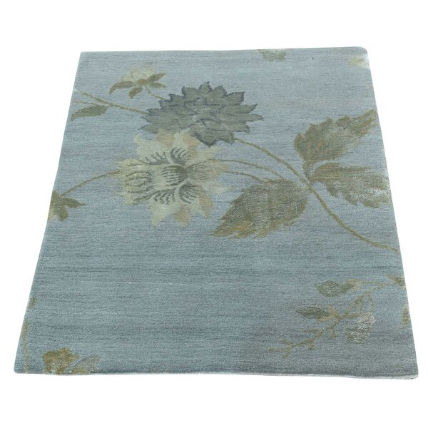 One-of-a-Kind Charboneau Nepali Hand-Knotted Light Green Area Rug by Fleur De Lis Living